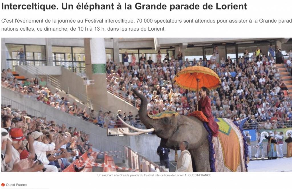 Un éléphant à la Grande parade de Lorient 2016. Ouest-France